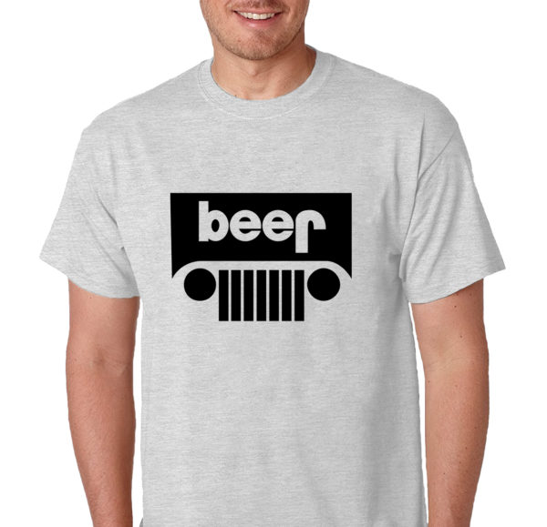 Beer Jeep Logo Funny Drinking Humor Men's Gray T-Shirt Funny Logo Parody Tee