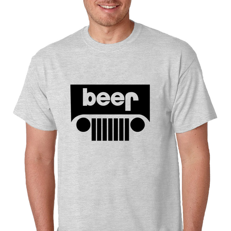 Jeep Logo Beer Funny Drinking Humor Men's Gray T-Shirt Funny Logo Parody Tee