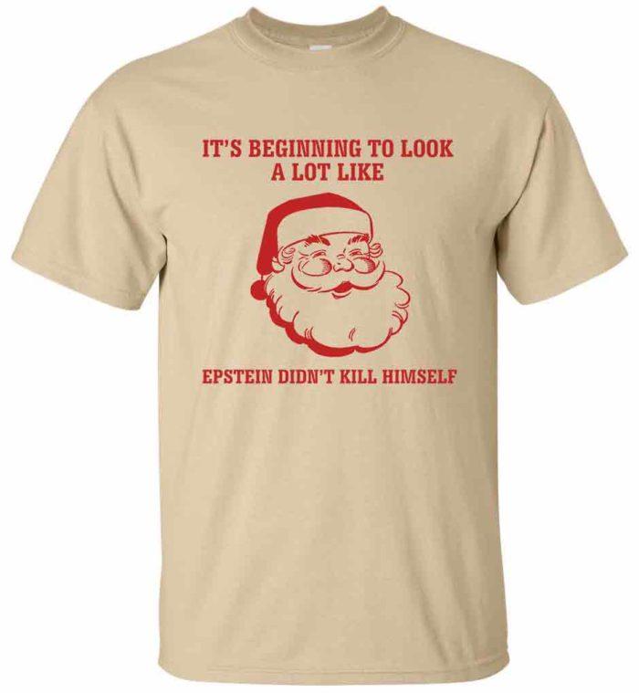 Jeffrey Epstein didn't kill himself and Santa face men's tan t-shirt