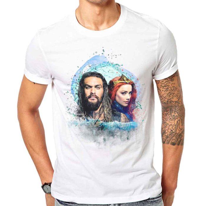 Jason Momoa Aquaman & Amber Heard Mera Watercolor Men's White T-Shirt