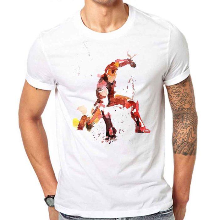 Superhero Landing Pose Iron Man White T-Shirt